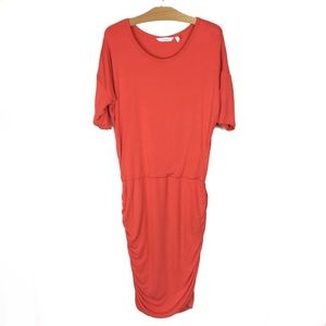 Athleta Cinch T-Shirt Dolman Dress Tangerine M